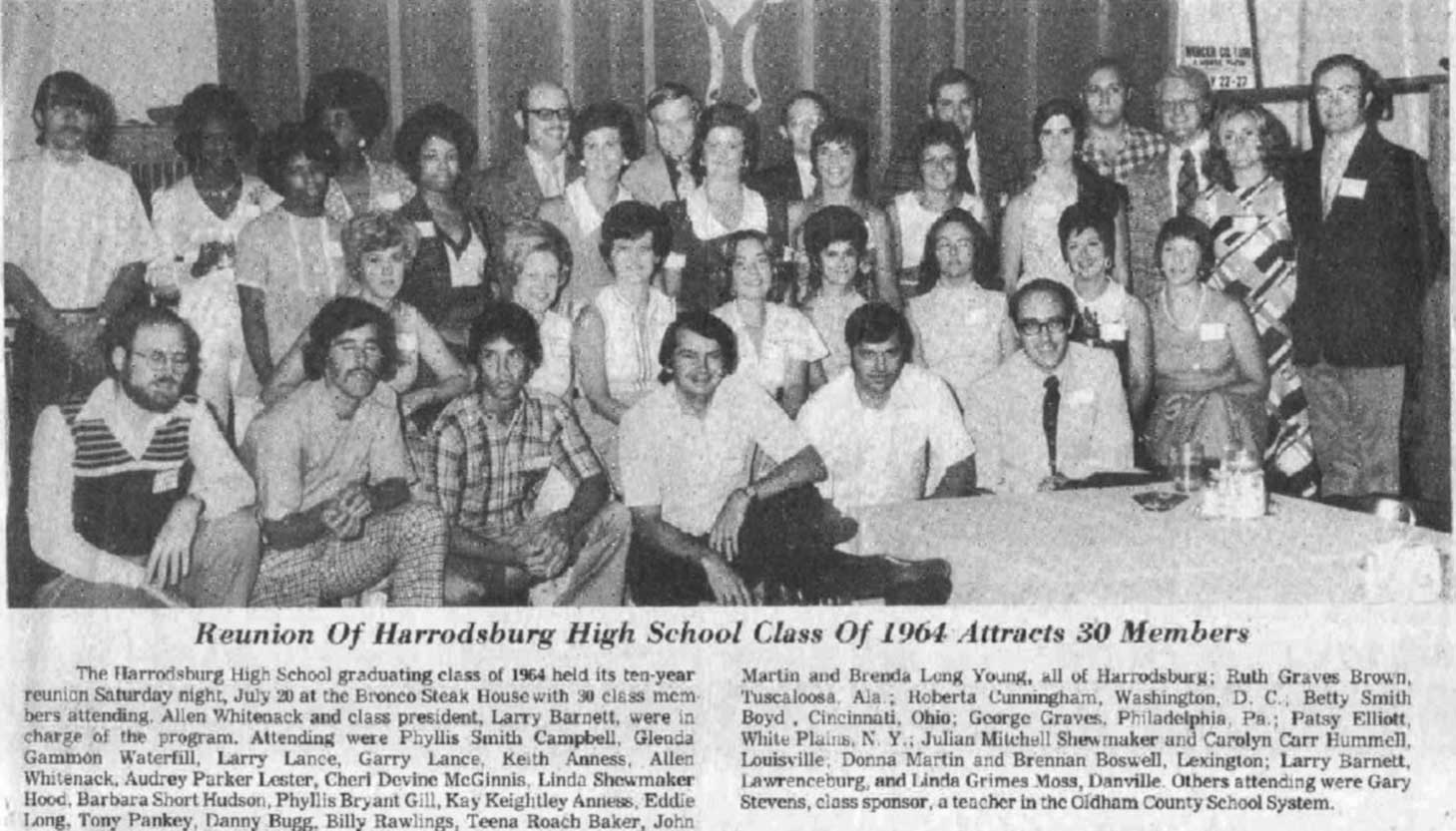 Harrodsburg Herald 1964 Reunion article with photograph